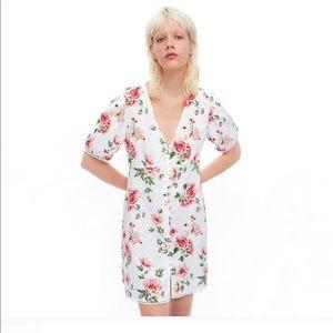 ZARA cotton/linen floral summer dress XL